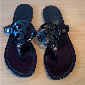 Tory Burch Miller Sandal Black Patent Size 6.5